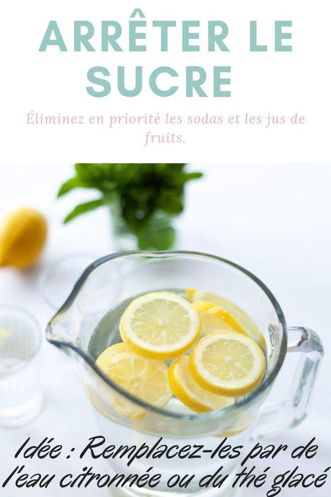 Arrêter le sucre. Idée : Remplacez les sodas et les jus de fruits par de l'eau citronnée ou du thé glacé
