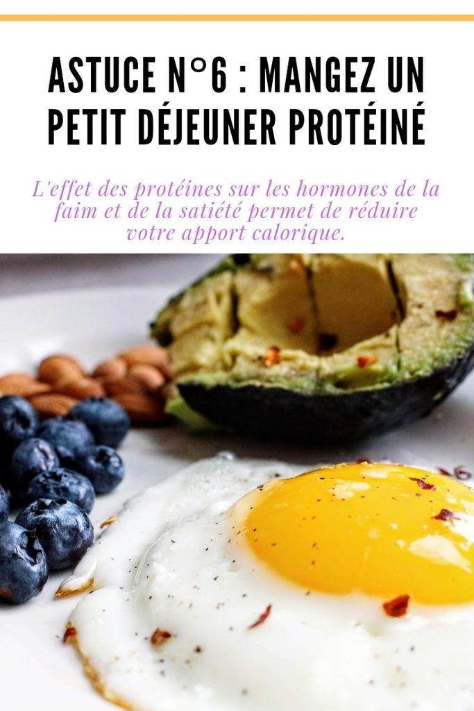 Astuce n°6 : Mangez un petit déjeuner protéiné L'effet des protéines sur les hormones de la faim et de la satiété permet de réduire votre apport calorique.