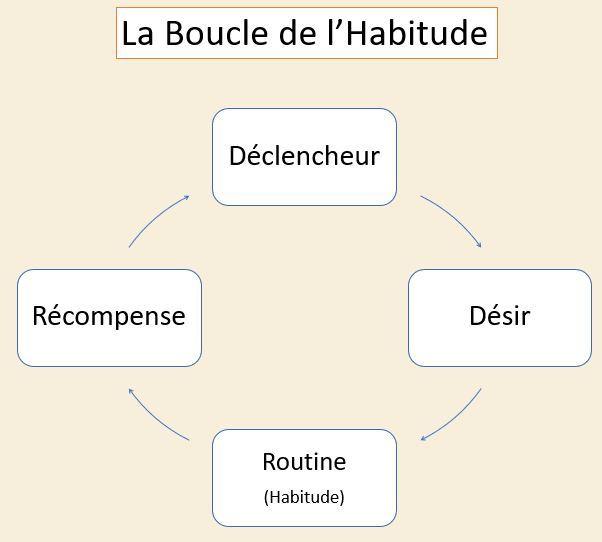 La boucle de l'habitude - Déclencheur - Désir - Routine (Habitude) - Récompense